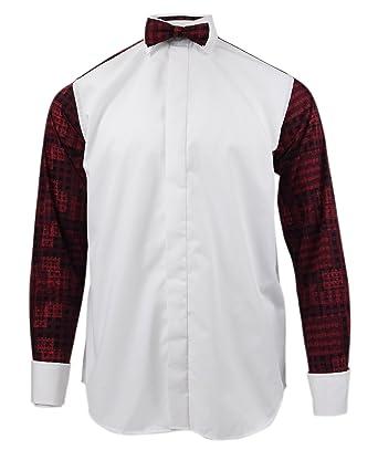 460d1103f118 Rocola Dress Shirt Geometric Print Back Long Sleeve Shirts with Bow Tie  Size Medium