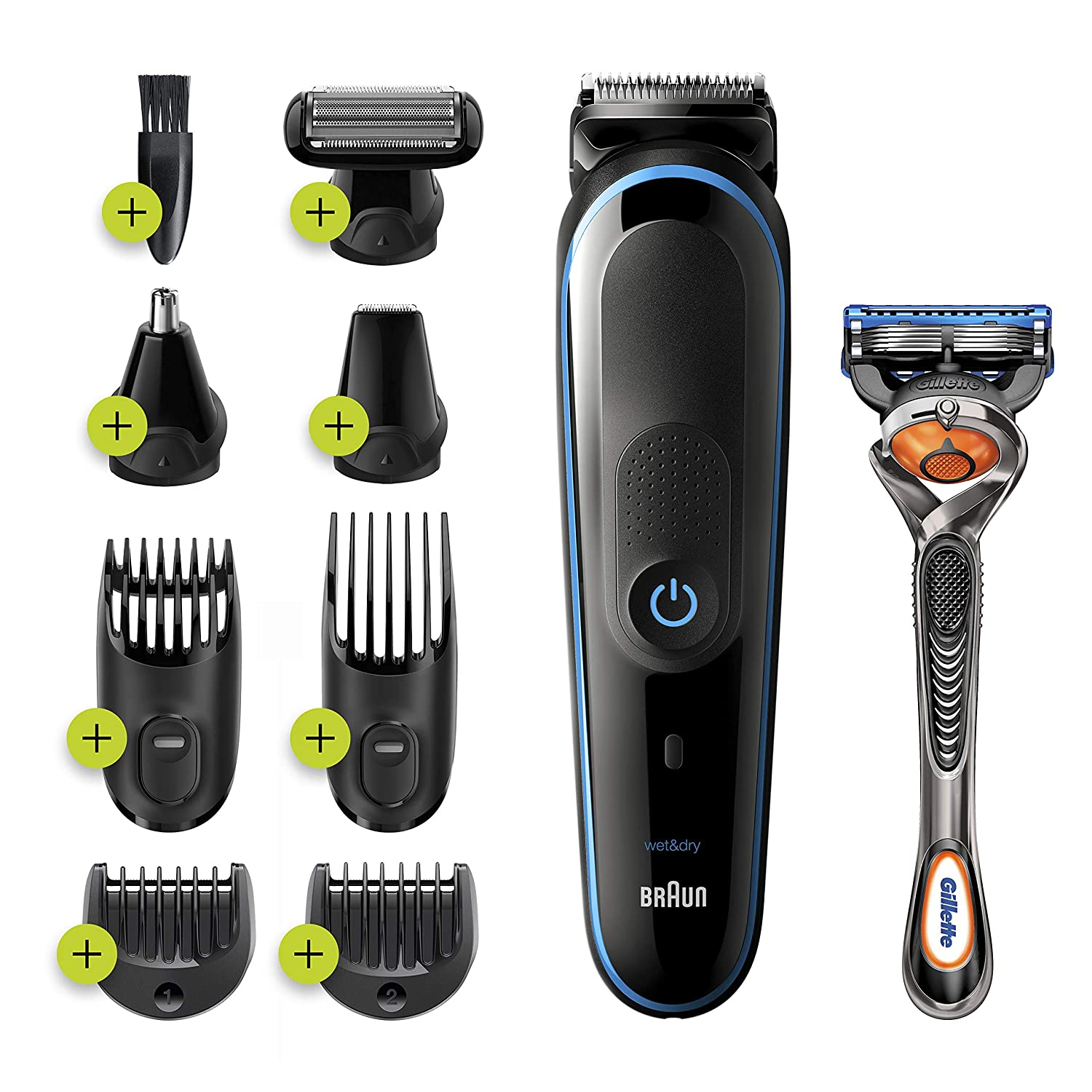 Braun 9-in-1 Trimmer MGK5280 Beard Trimmer for Men, Body Grooming Kit & Hair Clipper, Black/Blue