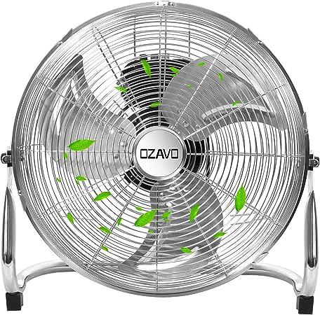OZAVO Ventilador de Suelo 56CM con 3 Velocidades, Power Fan, Metálico Máquina de Viento, Circulador de Aire, 100W, Inclinación de 100 Grados, 18 Pulgada, Plata ...