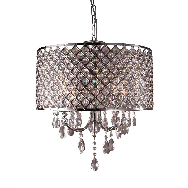 LightInTheBoxR Moderne Kronleuchter Mit 4 Lampen Pendelleuchte Kristalltropfen In Runde Leuchte Decke Zum Esszimmer Schlafzimmer