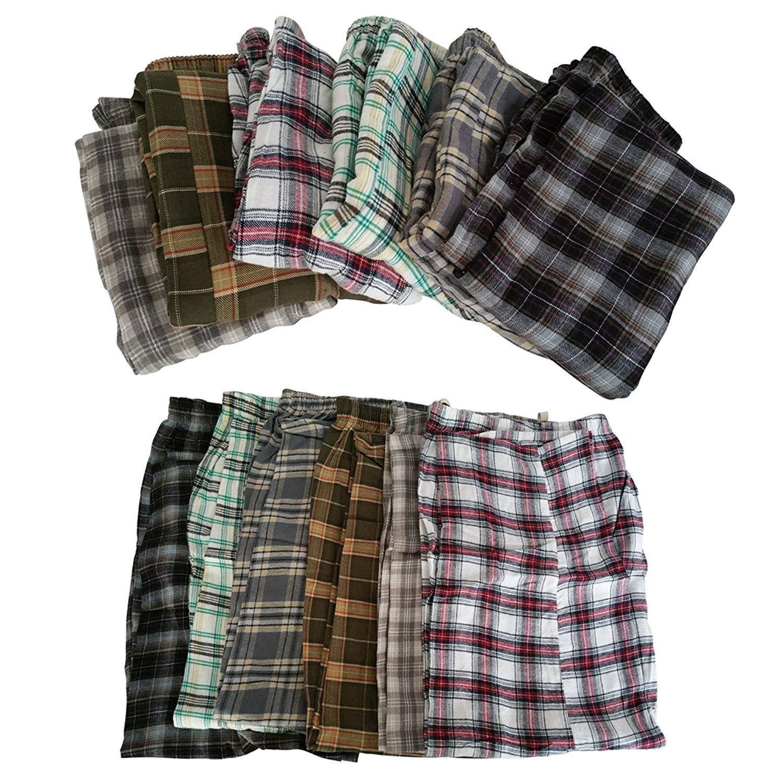 3 Pack: Mens Plaid Supersoft Cotton Pajama Bottoms Pants Sleepwear - Medium