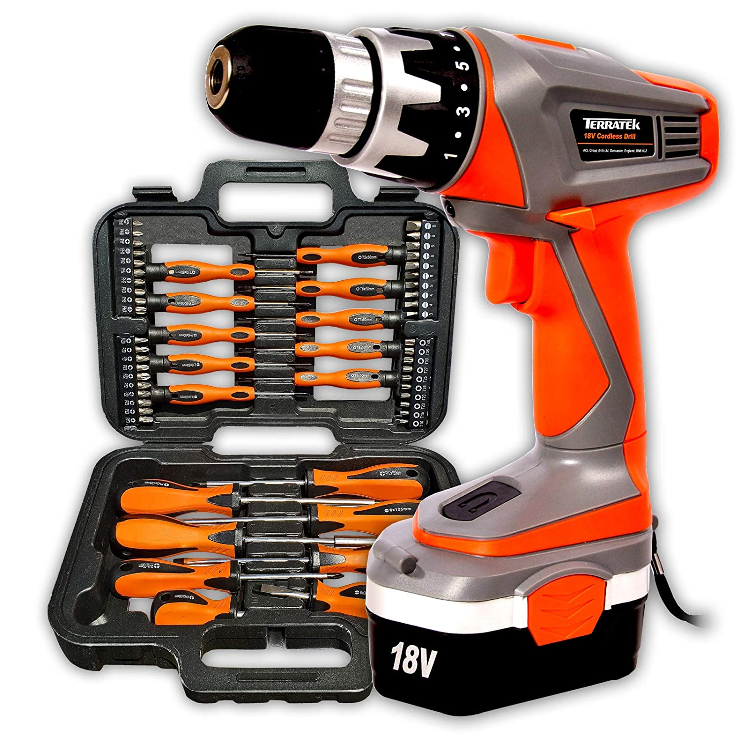 Electric Screwdriver with 43pcs Screwdriver Drill Bit Holder with Working Led Light Electric Current Detect Screw-Driver 4V Cordless 1300 mAh Lithium Battery USB Charge Screw Driver