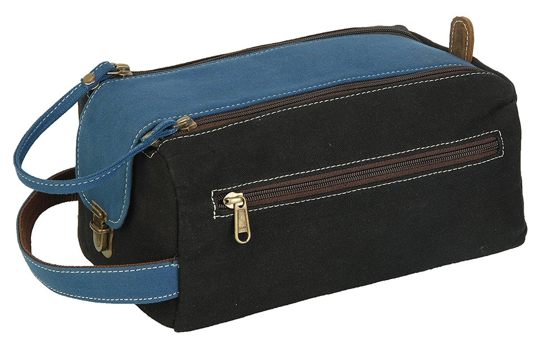Dopp Shaving kit Waxed canvas & bufflo hunter leather cosmetic makeup bag