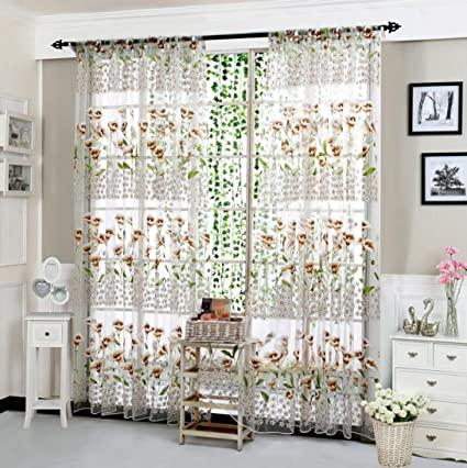 amazon com clearance curtain! paymenow 1 panel morning glory homeclearance curtain! paymenow 1 panel morning glory home deco sheer curtain bedroom bathroom living room