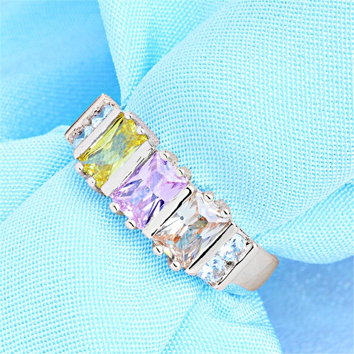 spyman Trend Design Silver Color Shiny Colorful Cubic Zirconia Jewelry Party Ring Size 6-9 For Gift Mujer