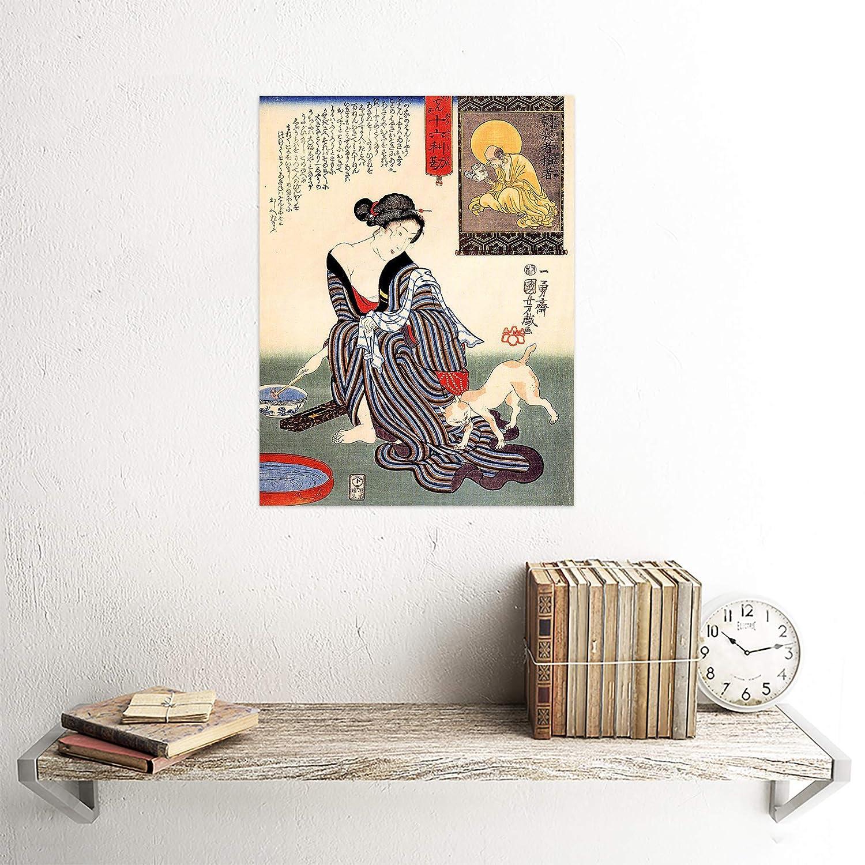 PORTRAIT UTAGAWA KUNIYOSHI WOMAN GEISHA JAPAN CAT ART PRINT POSTER CC907