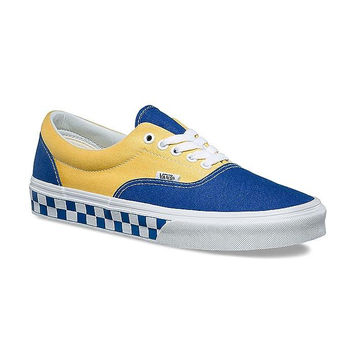 Vans Era Sneakers Blau/Gelb mit Blau/Weiß Kariertem Wetterschutzrand Herren Damen Unisex Größe EU 39