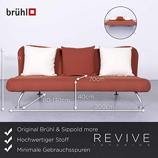 Amazon.com: Brühl U0026 Sippold More Designer Stoff Sofa Braun Schlafsofa  Funktion Couch #6425: Kitchen U0026 Dining