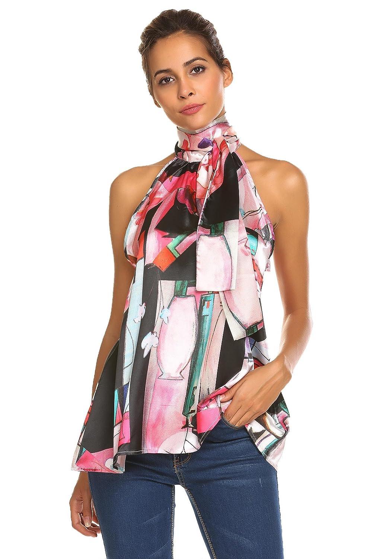 ThinIce Women Summer Sleeveless Office Blouse Halter Tie Back A Line Tank Shirt