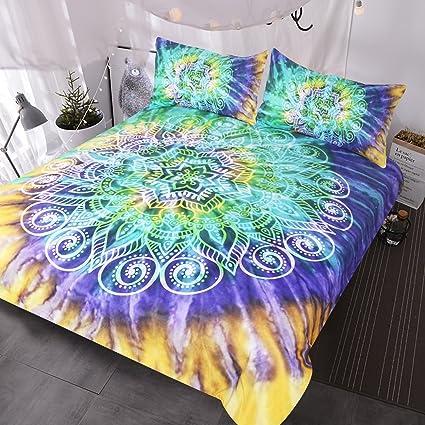 Amazoncom Blessliving Lotus Flower Tie Dye Bedding 3 Piece