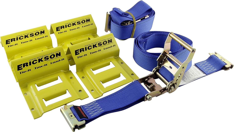 Etrack ATV UTV Wheel Chock Trailer Tire Strap Kit Tie Down Straps Towing System