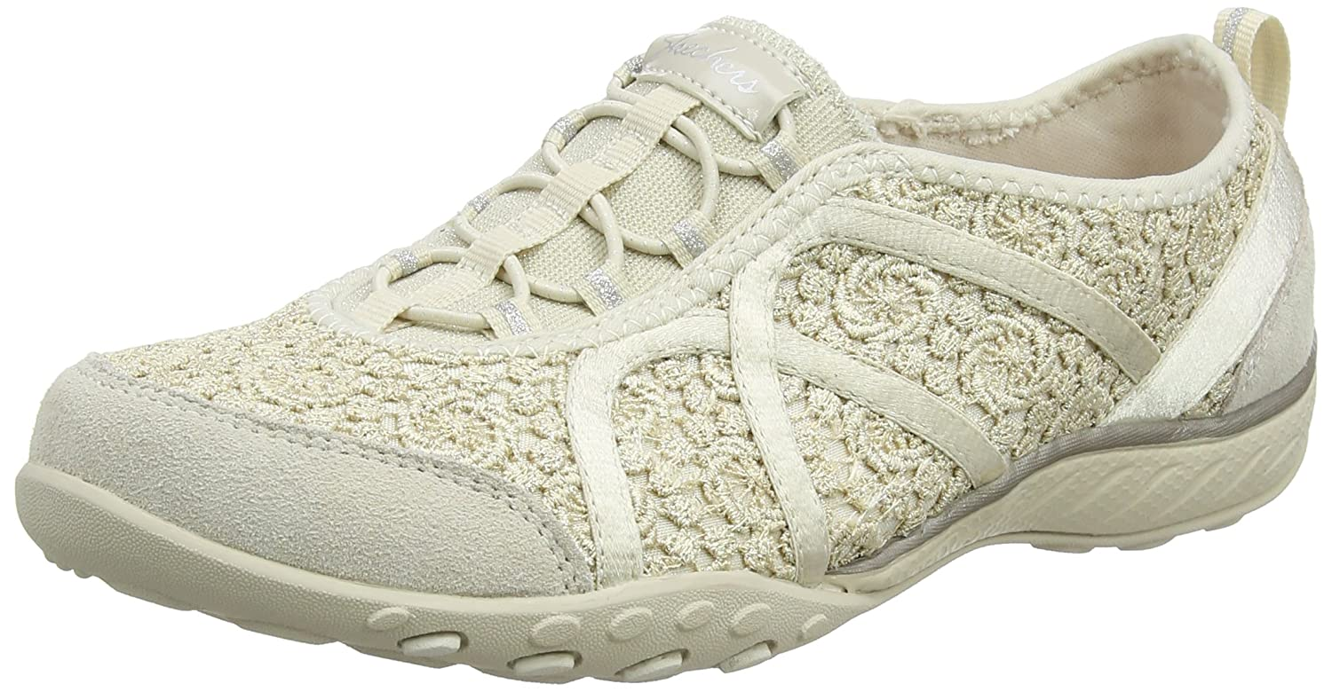 Skechers Damen Breathe-Easy-Sweet Darling Sneaker  41 EU|Beige (Natural/Silver)