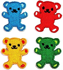 PARITA Very Small Set 4 Pcs. Cute Lovely Teddy Bear Iron on Patch Character Movie Cartoon Kids Embroidered Craft Handmade Clothes Costume for Children and Adults (13)