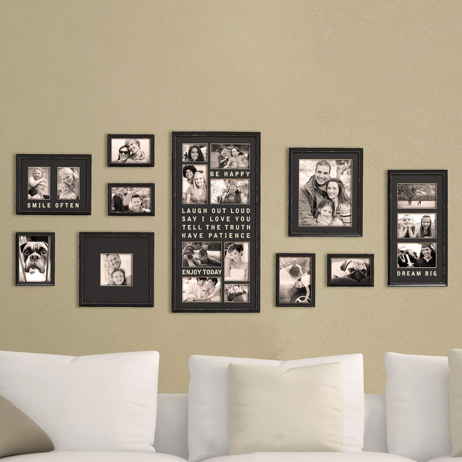 Jerry & Maggie - Luxury Typography Sets | Photo Frame | Wall Decor Bar - Wall Decor Combination - Gold Black PVC Picture Large Frame Selfie Gallery Collage Wall Hanging System - Wall Mounting Design by Jerry & Maggie