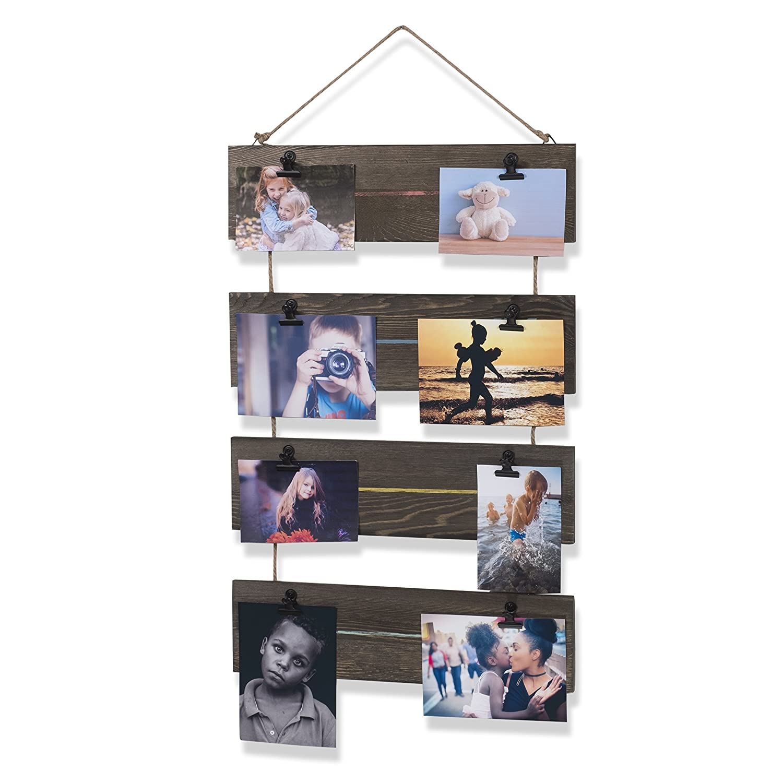 brightmaison Living Room Decorative Vertical Photo Display Clip Board Wood Walnut 26 Inch Single