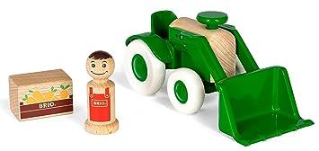 Holzspielzeug BRIO Traktor mit Holz Anhänger Spielzeug Bauernhof Kinder