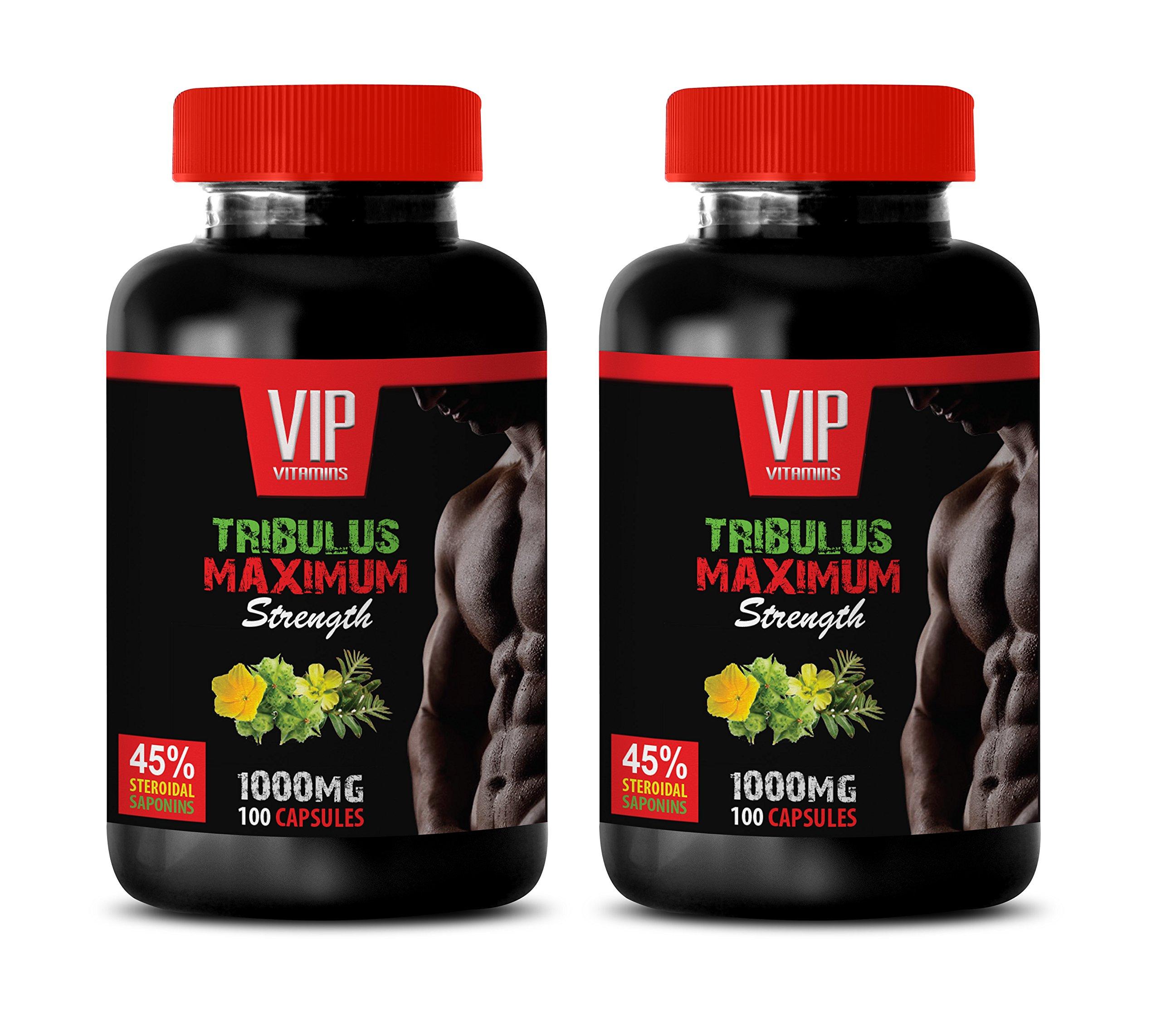testosterone booster with estrogen blocker for men - TRIBULUS TERRESTRIS MAXIMUM STRENGTH - 45% STEROIDAL SAPONINS - tribulus natural - 2 Bottles (200 Capsules)