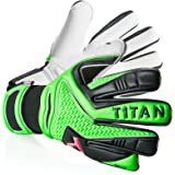 Rebel T1TAN Goalkeeper Gloves with Inner Seam and 4mm Gecko Grip–In Professional Quality for the Goal Keeper Of The Circle 'Man Gloves Class to Professional League Black & Neon Green