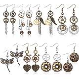 8 Pairs Steampunk Drop Earrings Gear Dangle Earrings Antique Clockwork Earrings Vintage Mix-tone Earrings for Women Girls