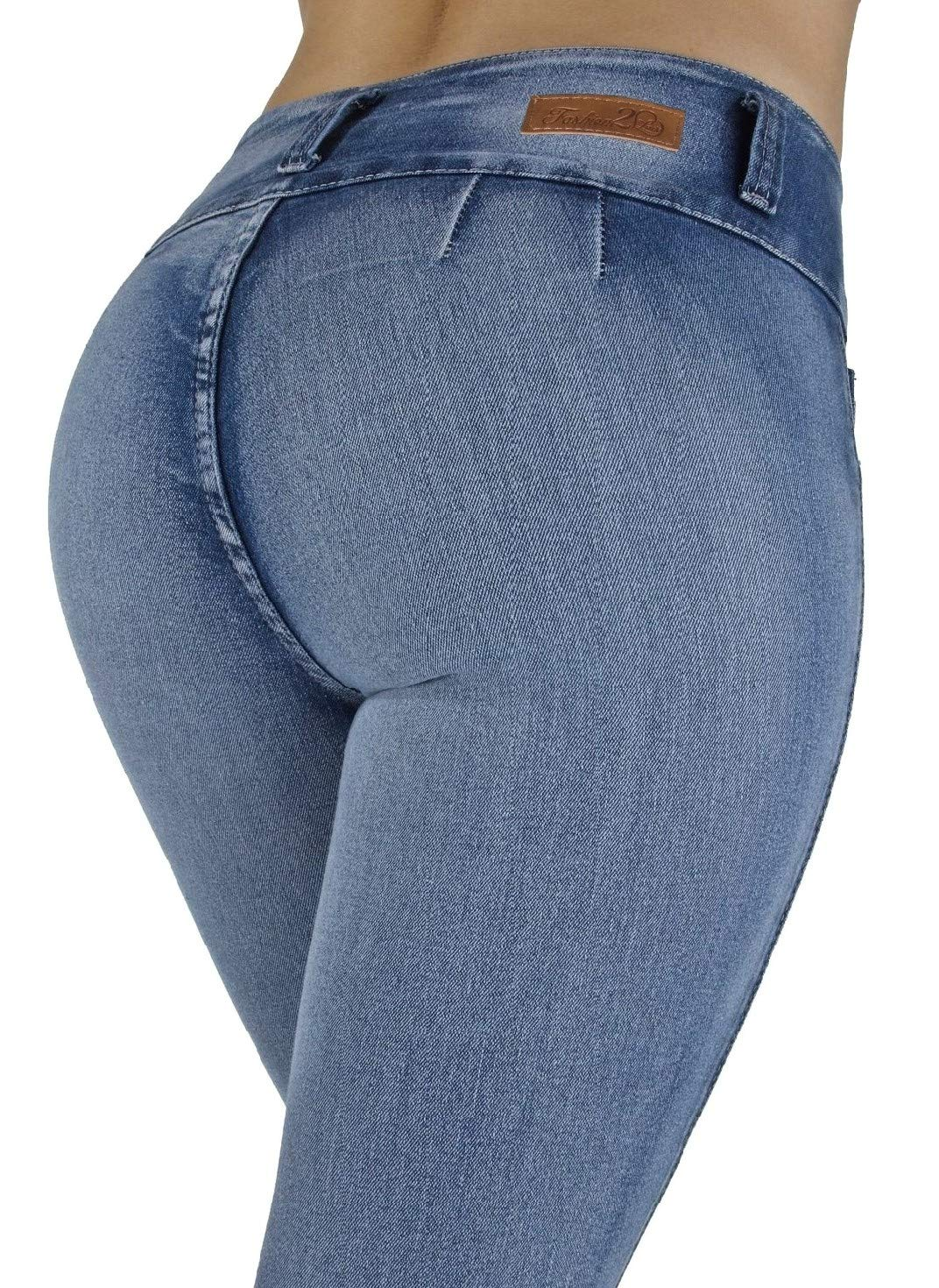 Fashion2Love Style G208– Colombian Design, High Waist, Butt Lift, Levanta Cola, Skinny Jeans in M. Blue Size 11