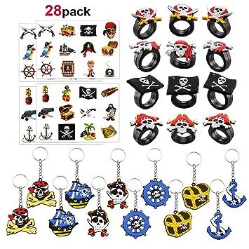 Howaf 12 Pirate Llaveros, 12 Pirata Anillos de Silicona, 4 Hojas Pirata Tatuajes temporales para Niños Infantiles Cumpleaños Rellenar piñatas y Bolsas ...