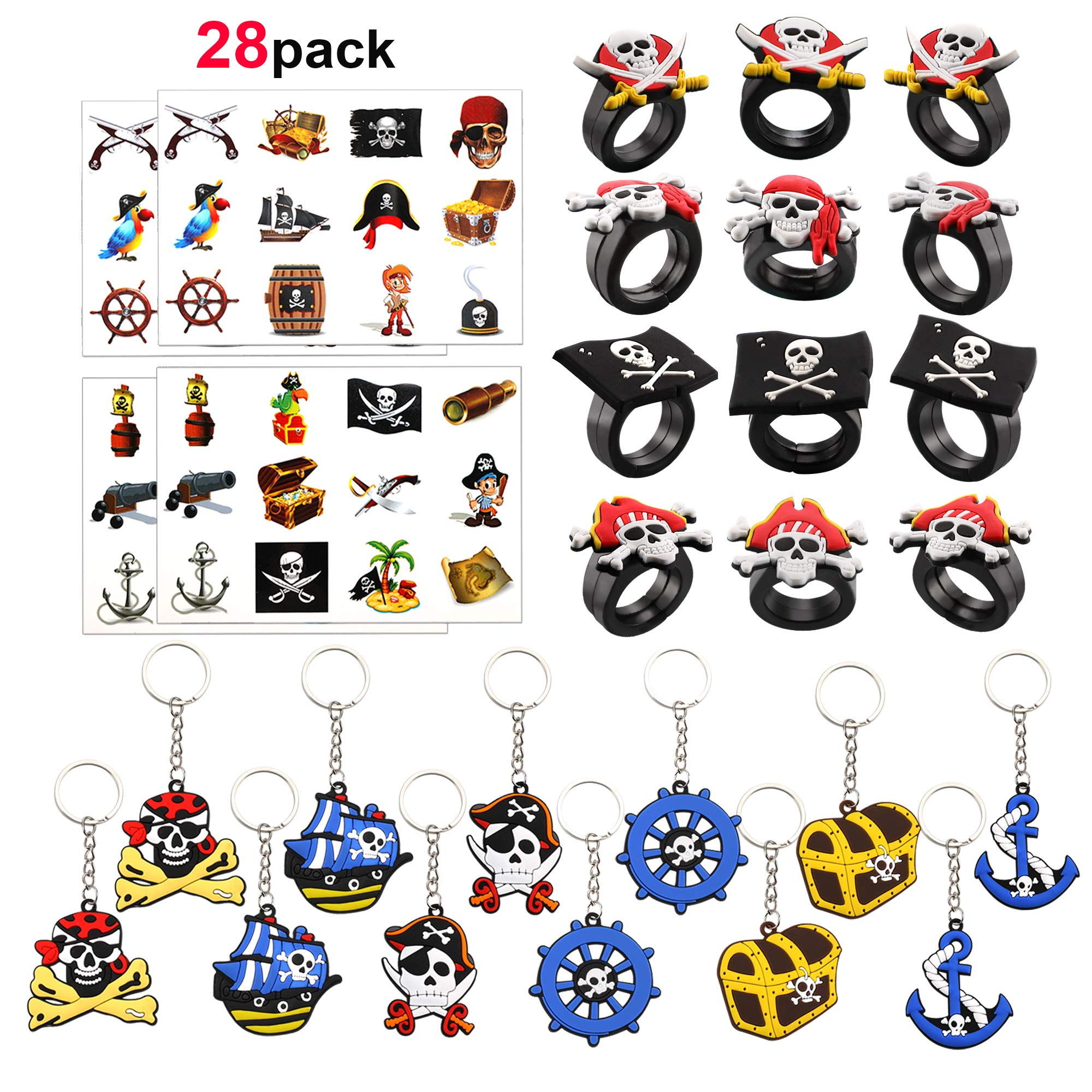 HOWAF Party Bag Fillers Toys for Kids, Pirate Party Supplies Favours Assortment Pirate Keyrings Rubber Pirate Rings Pirate Temporary Tattoos for Kids Children Birthday, Halloween, Pinata, Prizes
