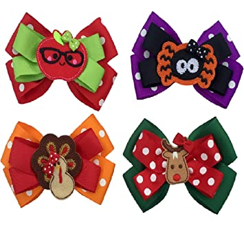 Girls Hair Bows Boho Tribal MINI Girls Hair Bows Includes All Four Pictured Newborn /& Toddler Bows 4 Set of Four