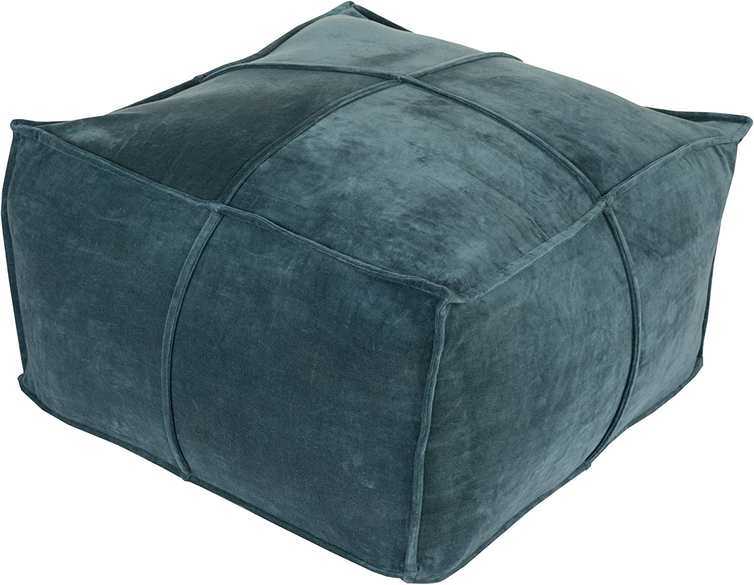 Surya 100-Percent Cotton Velvet Pouf, 24-Inch by 24-Inch by 13-Inch, Teal