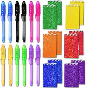 HeroFiber 12 Invisible Ink Spy Pen w/UV Light + 12 Mini Prism Notepads - Great for Themed Party Favors, Magic & Spy Parties,Diary, Homework, Goodies Bags Toy