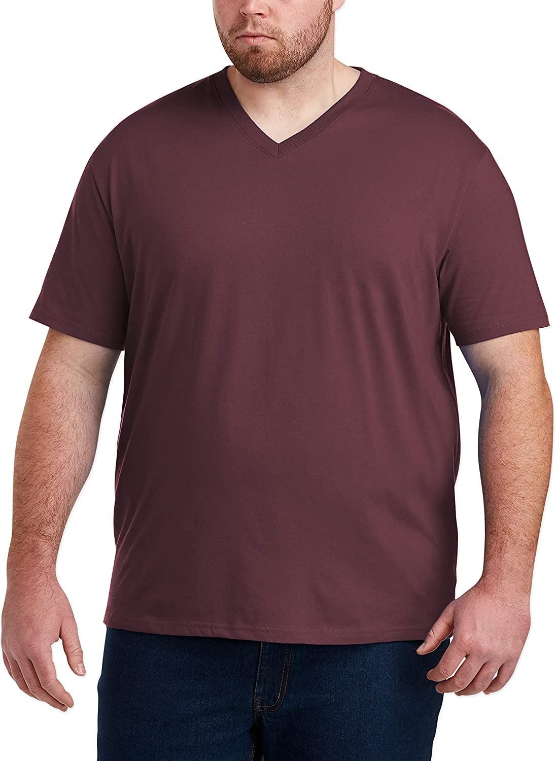 Essentials Mens Big /& Tall 2-Pack Short-Sleeve V-Neck T-Shirts fit by DXL