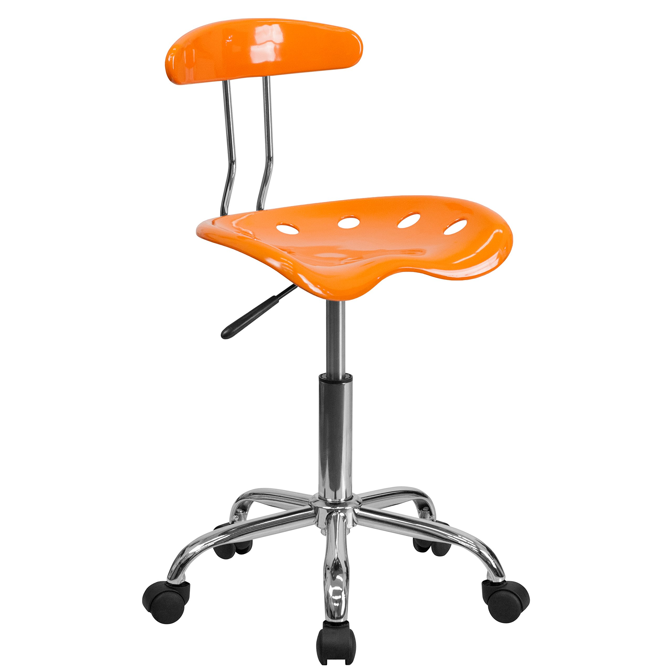 Vibrant Orange and Chrome Swivel Task Office Chair with Tractor Seat