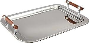 "Elegance 73019 Stainless Steel Rectangular Tray, 22"" x 15.5"", Silver"