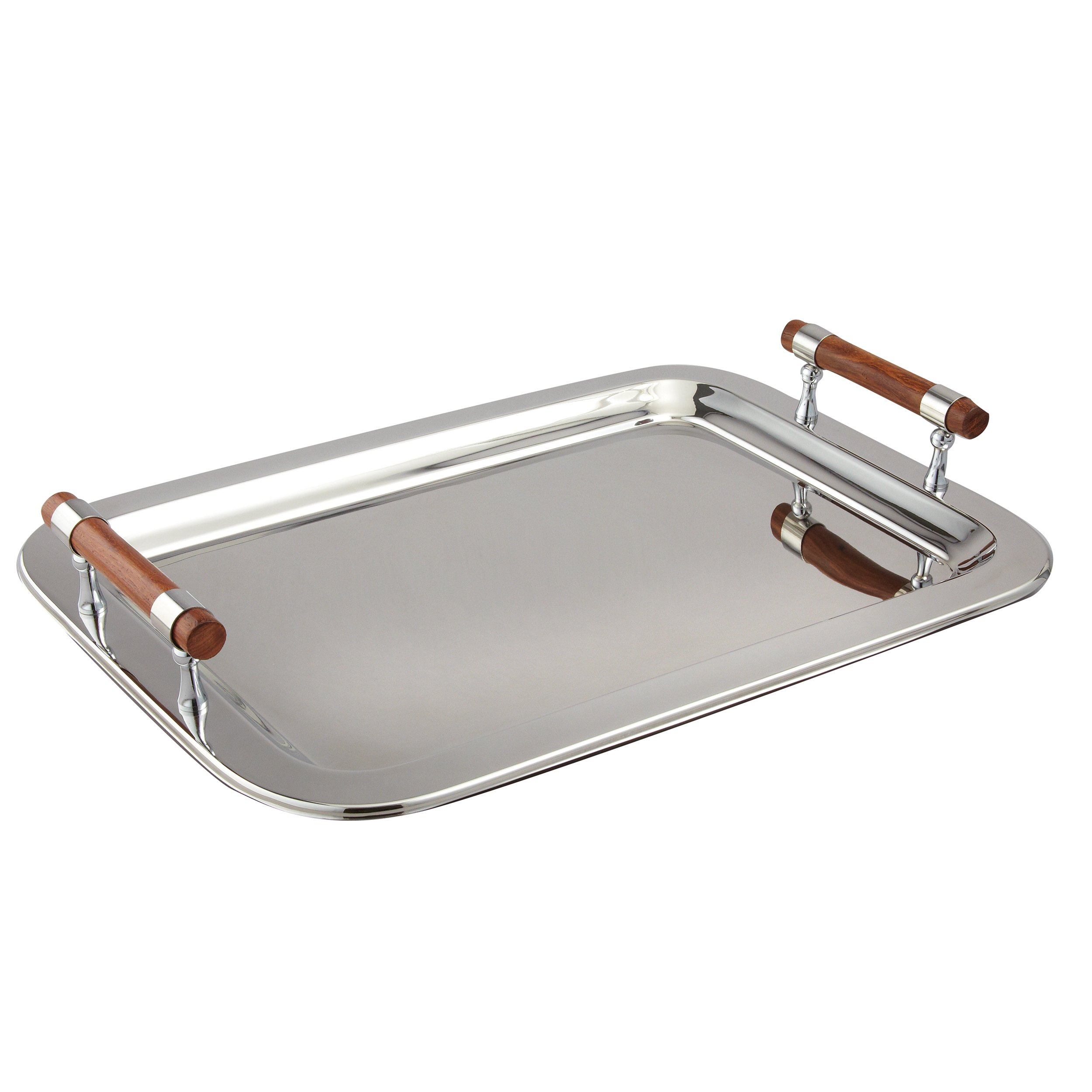 Elegance Stainless Steel Large Rectangular Tray with Wood Handles, 22 by 15.5-Inch, Silver