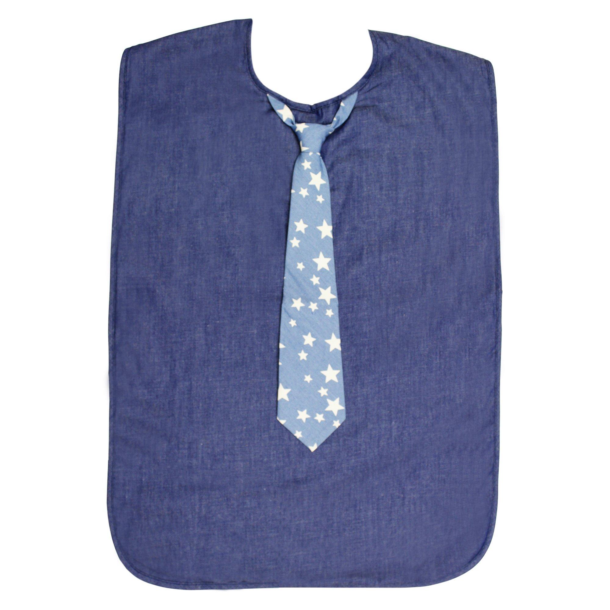 Men's Adult Bib, Chambray Bib with Blue Tie w/White Stars, Frenchie Mini Couture