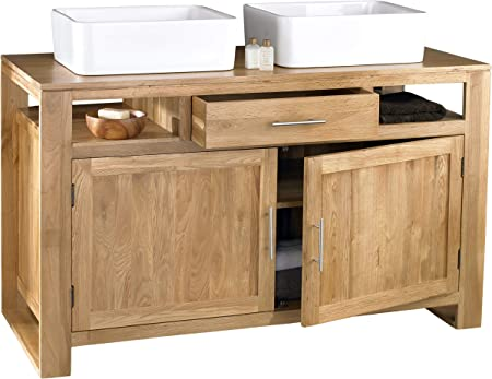 clickbasin Cube Solid Oak Vanity Unit Double Basin Two Door 1300mm ...