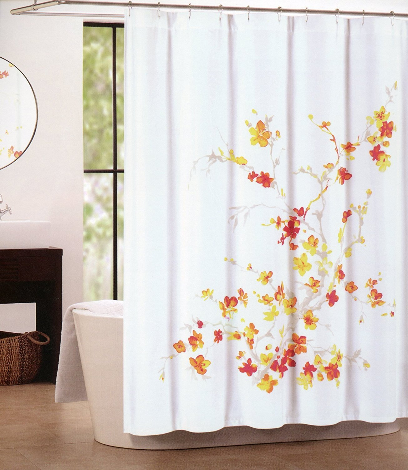Tahari shower curtains - Amazon Com Tahari Home Printemps Shower Curtain In Floral Orange Red Yellow And Tan On White 72 X 72 Home Kitchen