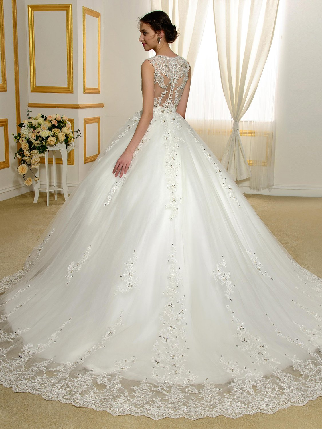 Sisjuly Women S Straps Beaded Lace Appliques Sheer Back Ball Gown Wedding Dress