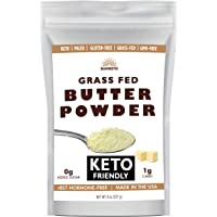 Organic Grassfed Real Butter Powder - Keto NON GMO rBST Hormone Free Paleo Low Carb Sugar Free Gluten Free - Healthy Fat Bomb - Great in Keto Coffee - Unsalted 8oz