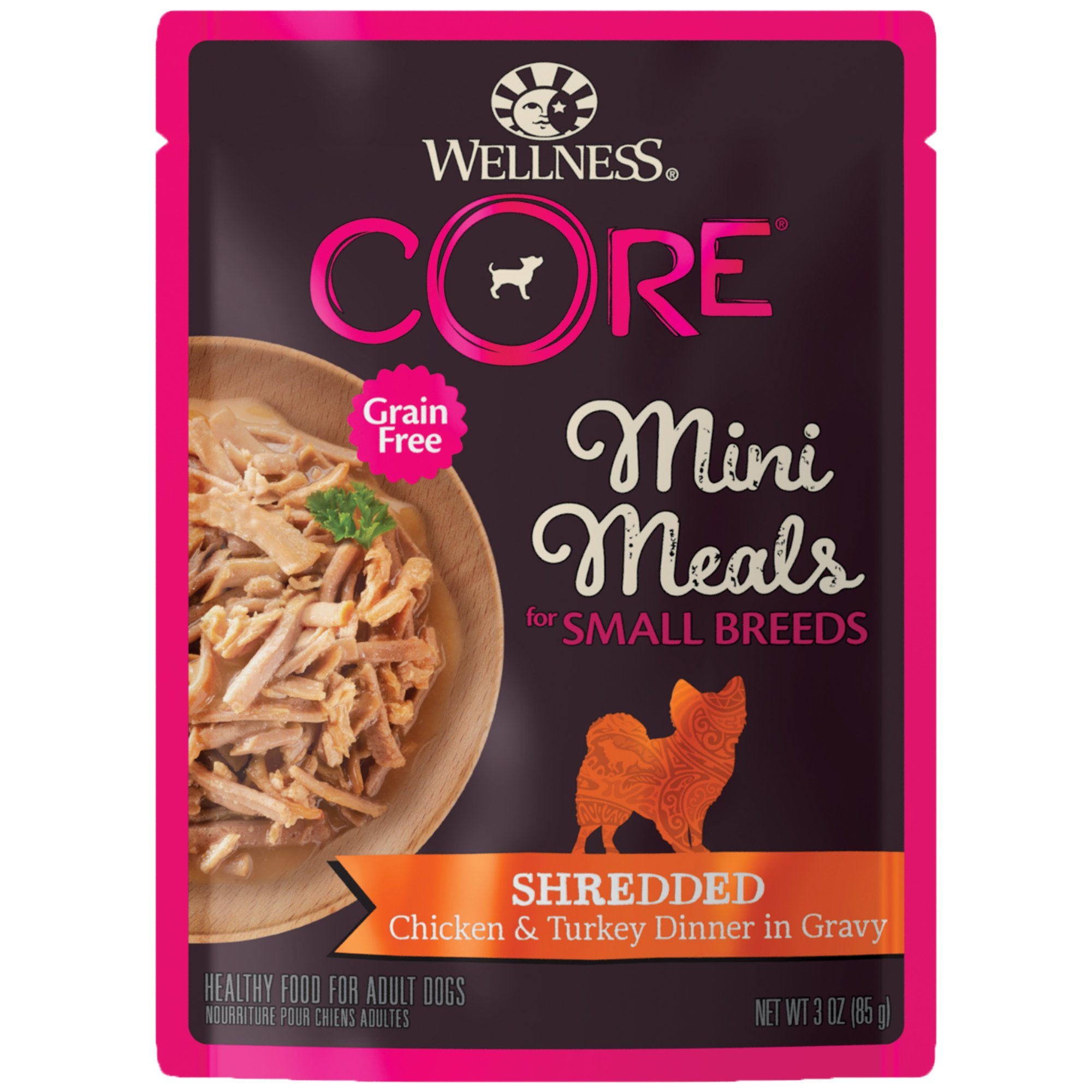 Wellness Core Natural Grain Free Small Breed Mini Meals Wet Dog Food, Shredded Chicken & Turkey Dinner In Gravy, 3-Ounce Pouch (Pack Of 12) by Wellness Natural Pet Food