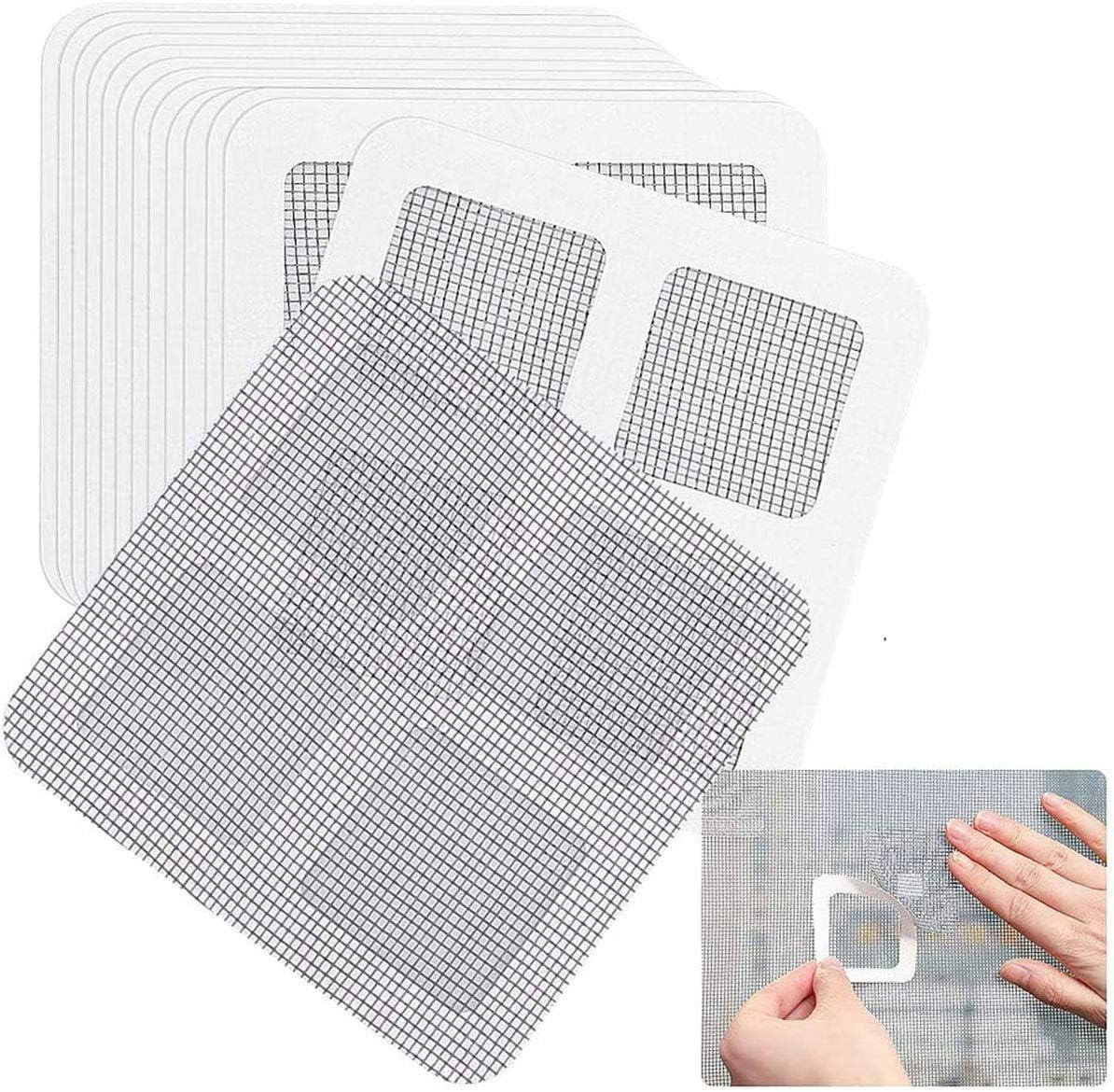 Bingcute Screen Repair Patch Kit, Window and Door Screen Repair Kit,Strong Adhesive&Waterproof Fiberglass Covering Wire Mesh Repair for Holes and Tears,Patches
