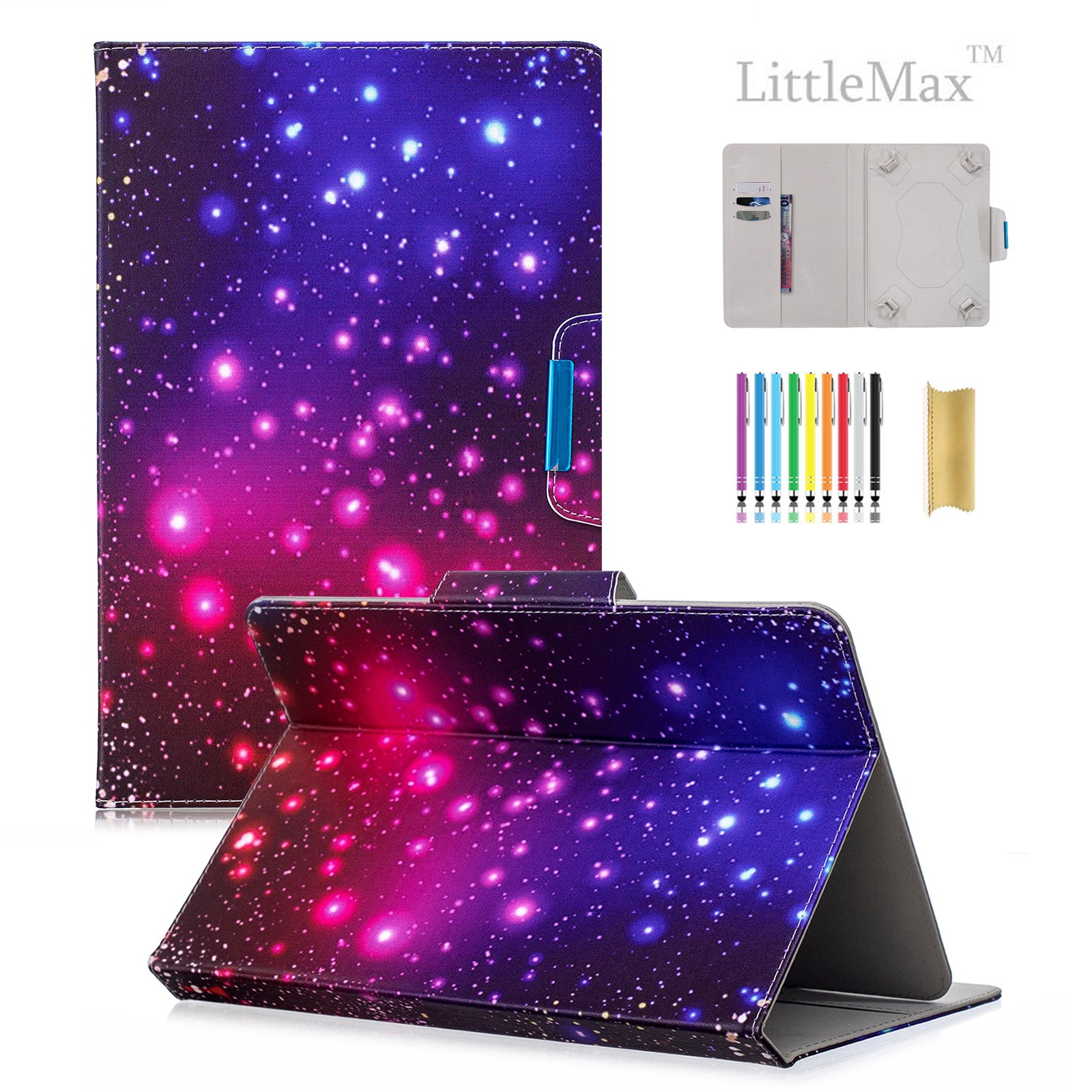 8 Inch Universal Tablet iPad Case, LittleMax(TM) Colorful Cards Slots Wallet Shell Folio Flip Kickstand Protective Case Magnetic Closure Cover for All 8 Inch Tablets -# Purple Sky