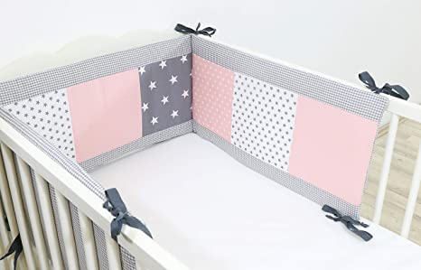 Protector de cuna de ULLENBOOM /® con rosa gris protector de cuna de 180/x/30 cm; chichonera para cunas de 120/x/60 cm; zona de la cabeza