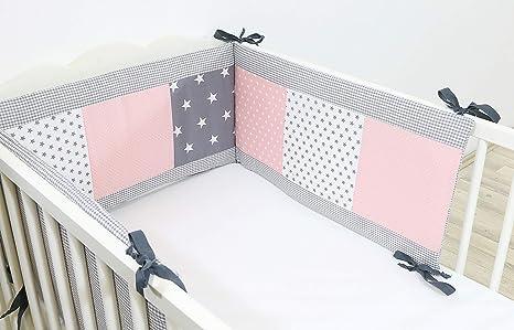 Protector de cuna de ULLENBOOM ® con rosa gris (protector de cuna de 180 x 30 cm; chichonera para cunas de 120 x 60 cm; zona de la cabeza)