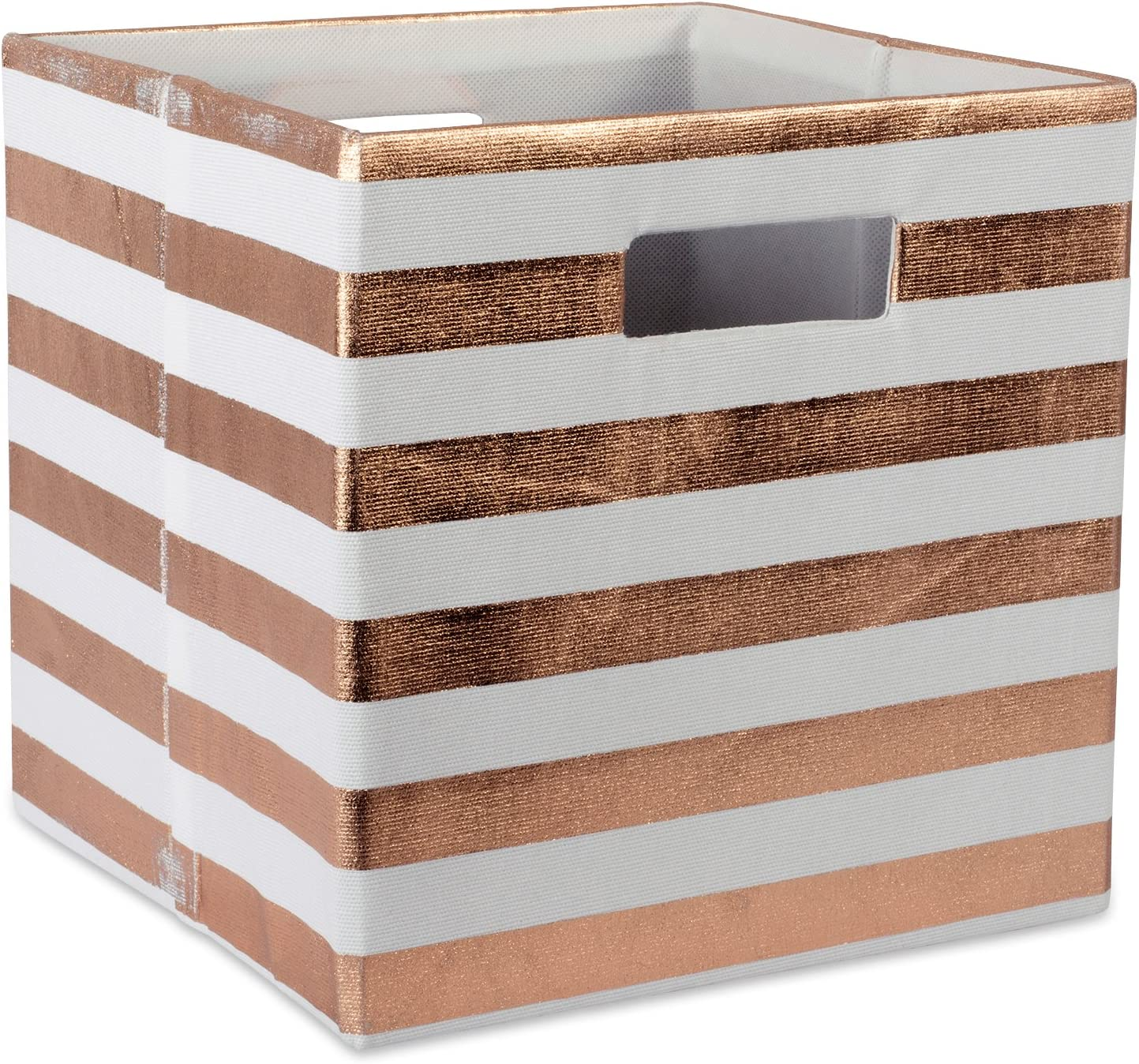 DII Foldable Fabric Storage Container 11 x 11 x 11, Stripe Copper, Small