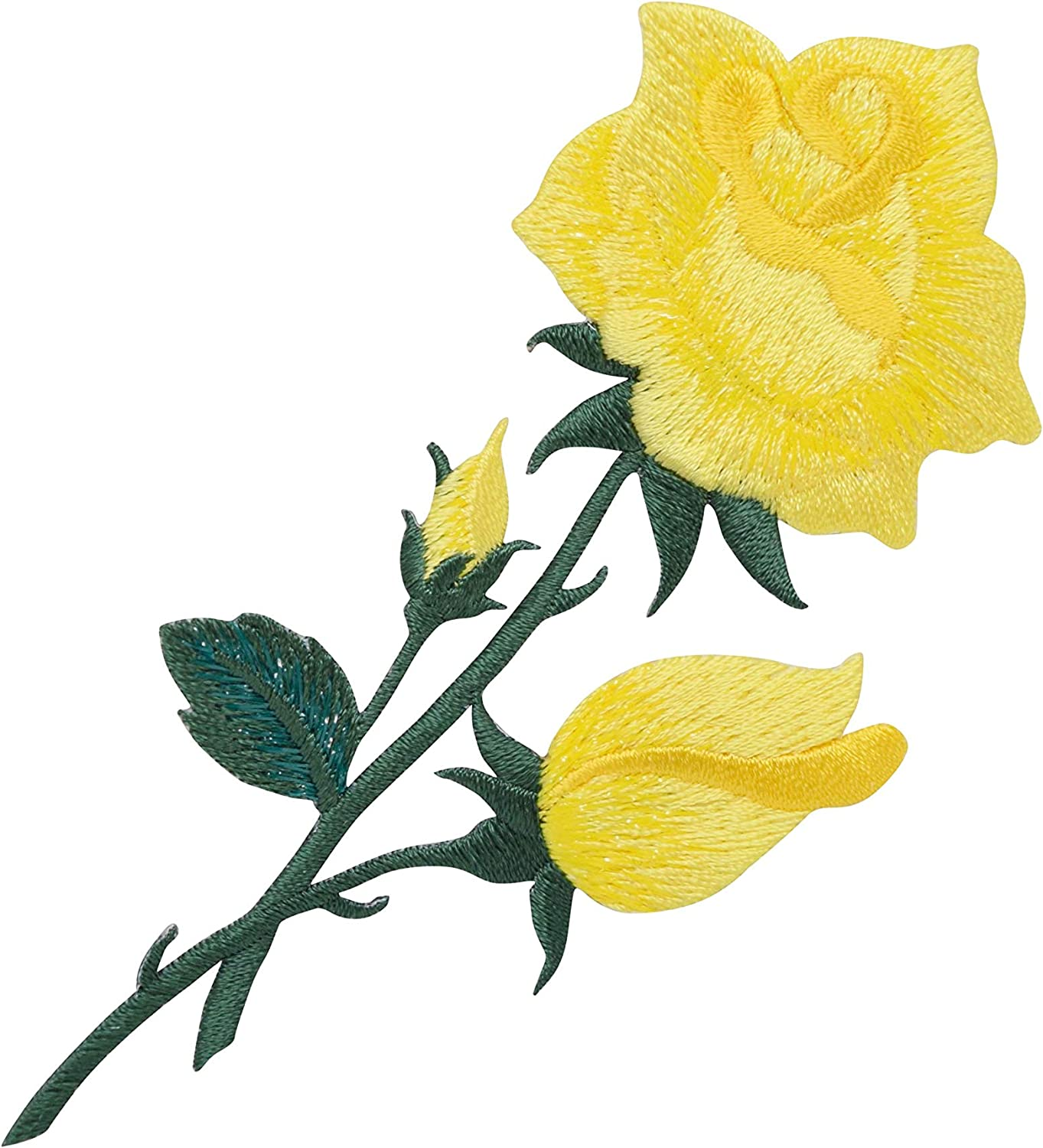 YELLOW ROSE FLOWER TATTOO EMBROIDERED CLOTH SEW IRON ON PATCH BADGE JACKET BAG