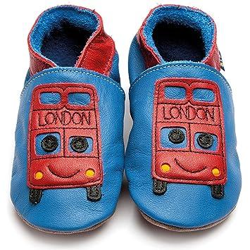 Inch Blue niñas niños funda de piel suave suela zapatos de para cochecito de bebé, color rosa, color rosa, talla M 6-12 Mesi