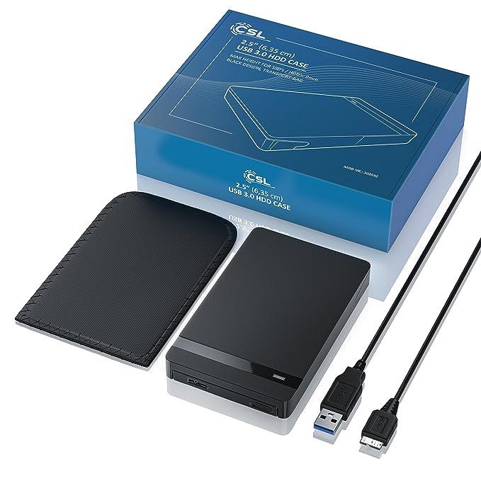 CSL - USB 3.0 2,5 SSD/SATA Caja de disco duro externo, UASP y SATA3 | para 9.5 mm 7 mm SATA I/II/III, SSD, HDD, USB 3.0 (5 Gbit/s), incluye UASP Mode (USB ...
