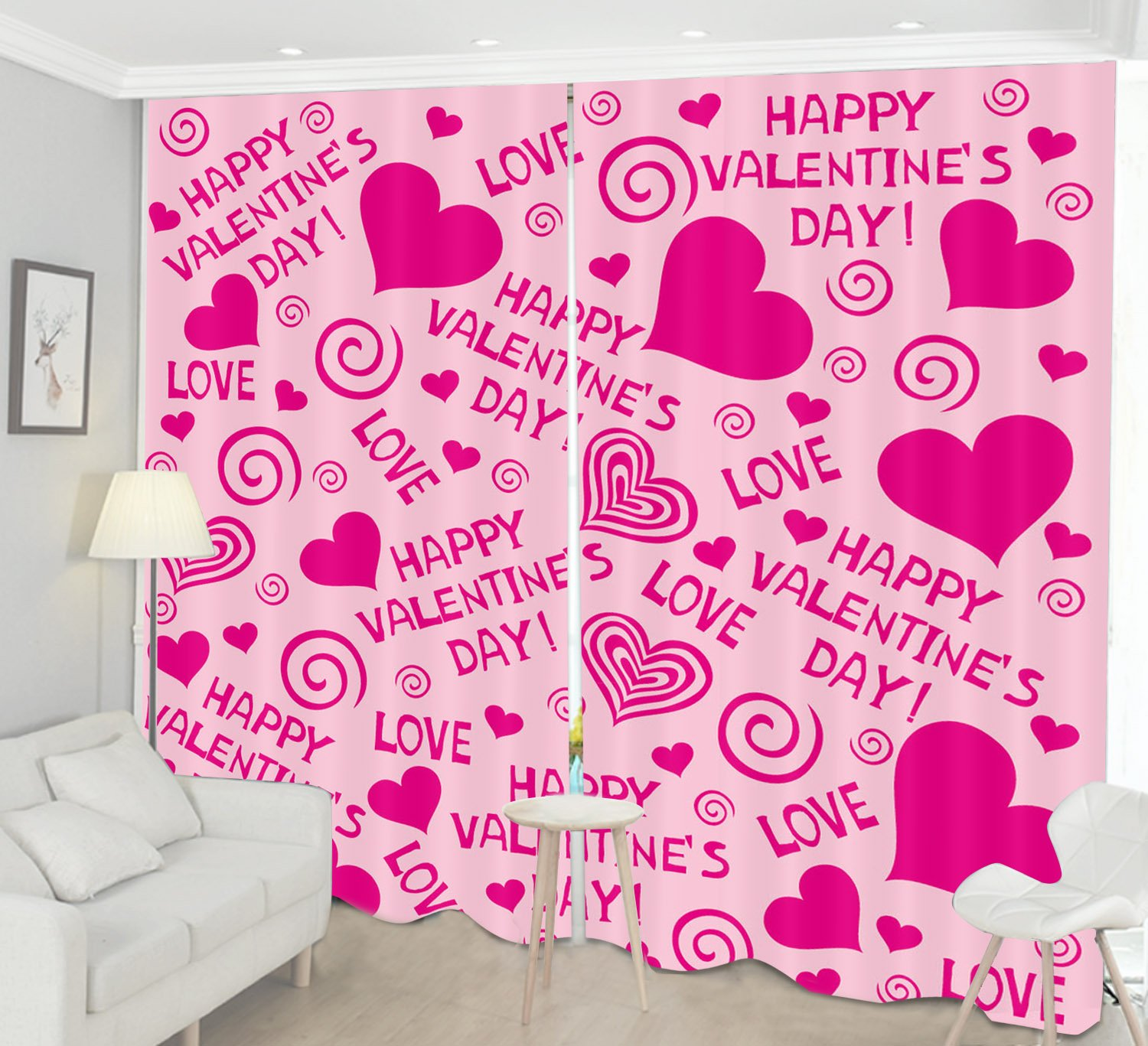 Pink Valentines Decor Curtain Drapes by LB, Love Hearts Romantic Home House Decoration, Living Room Bedroom Curtain, 104x84 Inches (2 Panels Size) , Pink