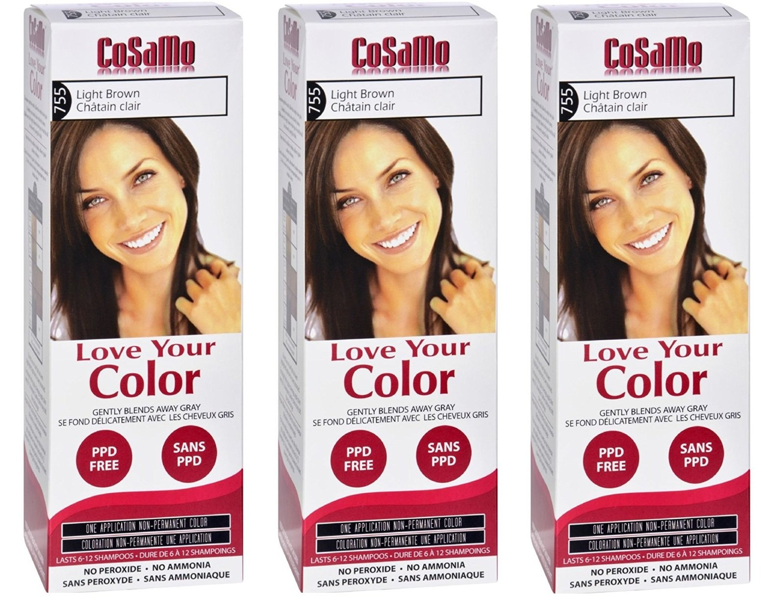 CoSaMo - Love Your Color Non-Permanent Hair Color 755 Light Brown - 3 Oz (Pack of 3) + FREE Travel Toothbrush, Color May Vary