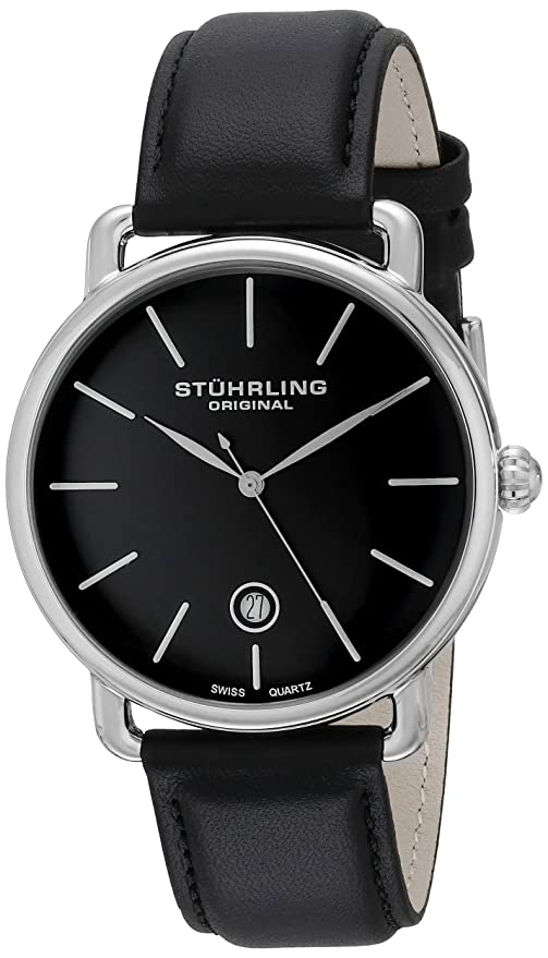 amazon com stuhrling original ascot mens black watch swiss amazon com stuhrling original ascot mens black watch swiss quartz analog date wrist watch for men stainless steel mens designer watch black